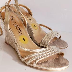 New! Badgley Mischka Gold Tie Up Sandal Wedges